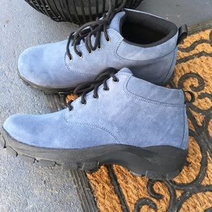 Lands End Men's Blue Suede Hiking Chukka Boots